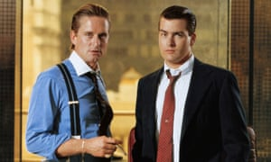 Michael Douglas as Gordon Gekko and Charlie Sheen as Bud Fox in 1987's Wall Street.