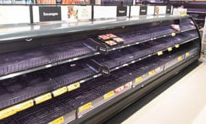 Empty meat shelves in a supermarket