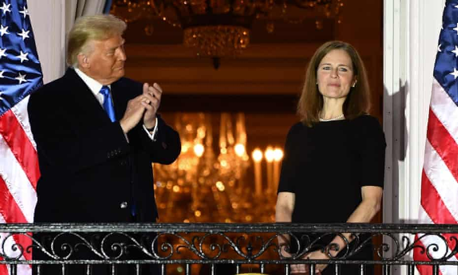 Donald Trump and Amy Coney Barrett at the White House Monday in Washington DC.