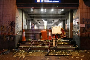 The vandalised entrance to the Wan Chai MTR station