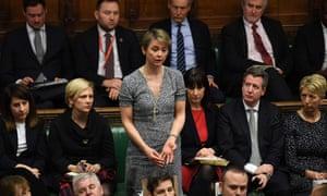 Yvette Cooper speaks in the House of Commons