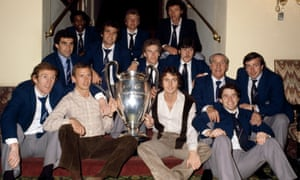 The Nottingham Forest team pose with the European Cup at their hotel in Munich after a 1-0 victory over Malmo in the1979 final. Back row, left to right: Viv Anderson, Colin Barrett, David Needham. Middle row: Peter Shilton, Larry Lloyd, Tony Woodcock, Garry Birtles, Jimmy Gordon, John O'Hare. Front row: Ian Bowyer, John McGovern, Trevor Francis and John Robertson.