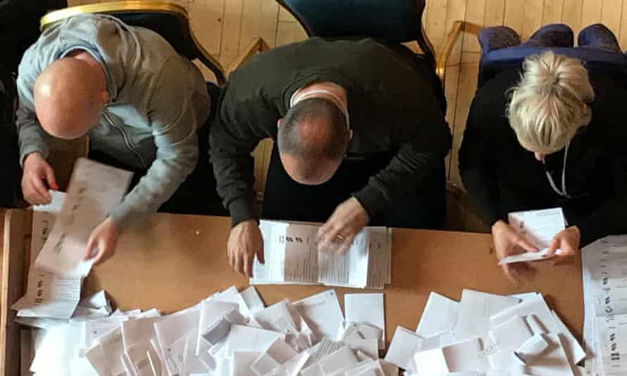 Votes are counted in the local elections in Belfast, May 2019