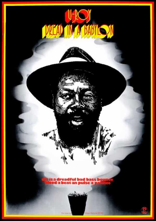 The poster for U-Roy's 1975 Virgin Records album Dread in a Babylon.