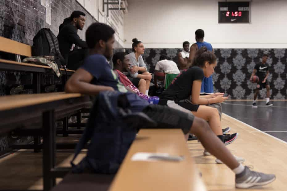 Basketball players at the Regal, an indoor sports facility in Kennington, south London