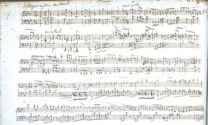 Detail of the original manuscript of Fanny Mendelssohn's Easter Sonata.