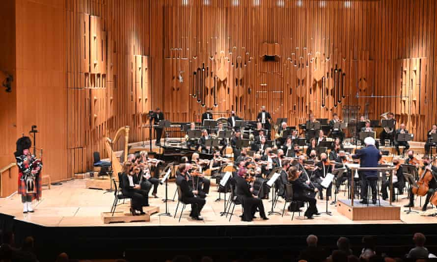 Robert Jordan on bagpipes with Simon Rattle and the LSO in the Barbican Hall on  12 September 2021.