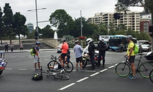 An altercation between a motorbike police officer and a cyclist