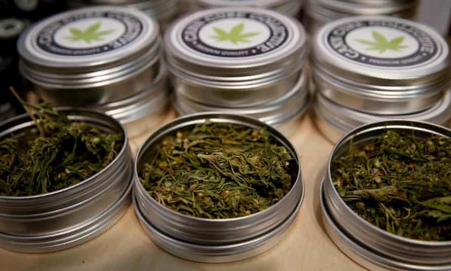 Cans containing cannabis buds