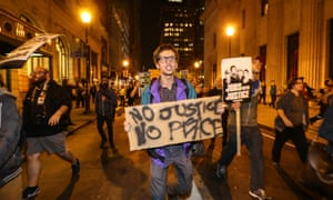 Marching on Chestnut street in Philadelphia