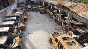 A car park in Delhi's Shiv Vihar locality which was complete burnt by rioting mobs during the outbreak of violence in the last week of February.
