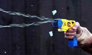 A Taser stun gun being fired
