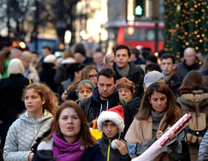 Christmas shoppers in Oxford Street.