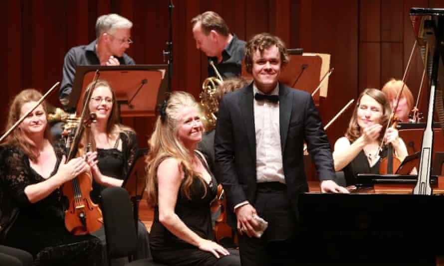 Violinist Jacqueline Shave, centre, and pianist Benjamin Grosvenor at Milton Court, London.