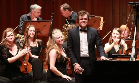 Violinist Jacqueline Shave, centre, and pianist Benjamin Grosvenor at Milton Court, London.