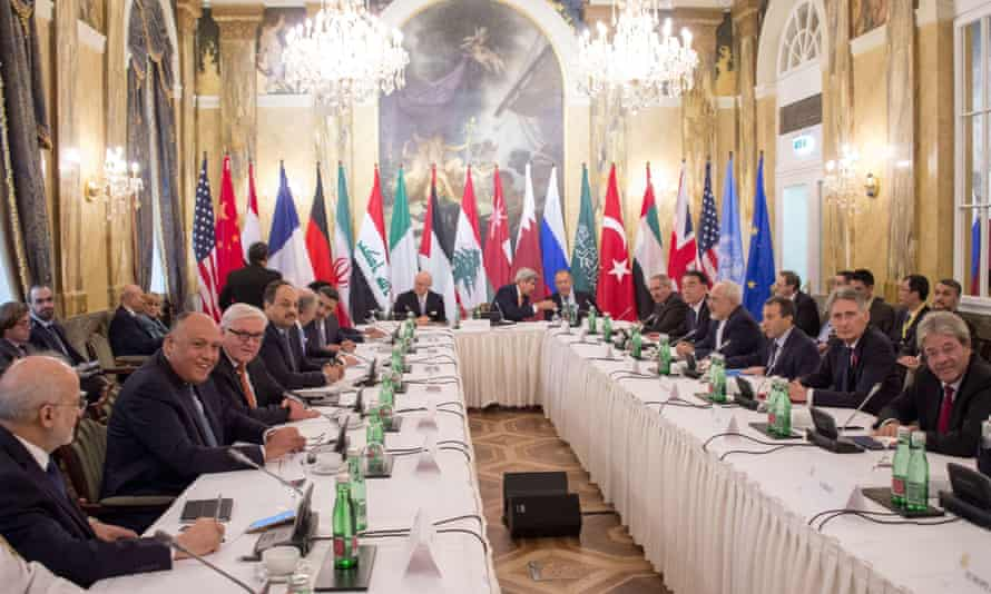 Participants in the Syria talks at the Hotel Imperial in Vienna