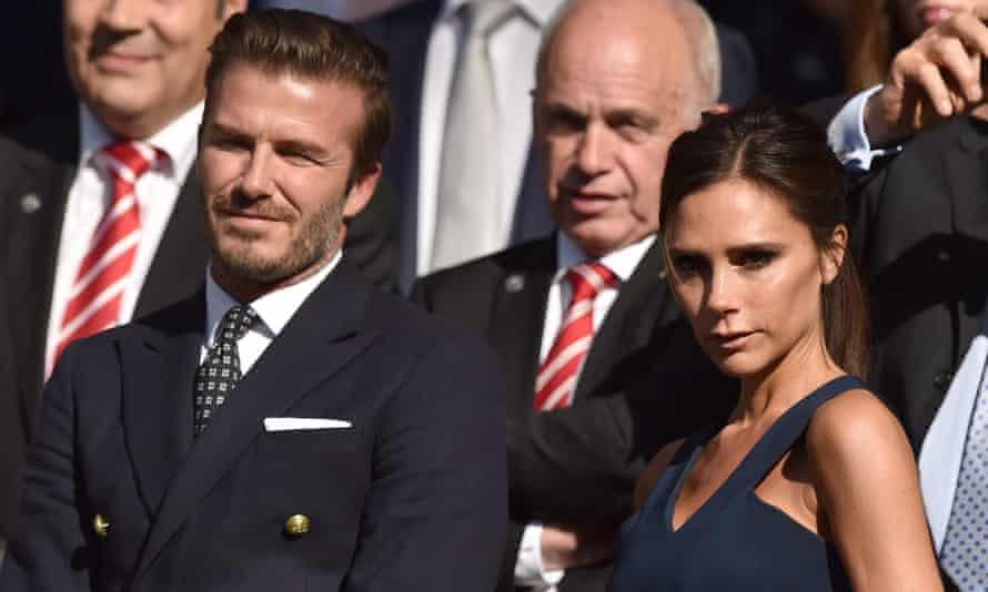 David and Victoria Beckham attend the Wimbledon men's singles final between Novak Djokovic and Roger Federer.