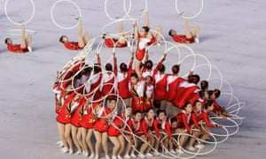 Participants perform during the 'Glorious Country' mass games in Pyongyang, North Korea