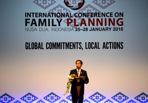 Indonesia's president, Joko Widodo, speaks at the opening of the international conference on family planning in Bali