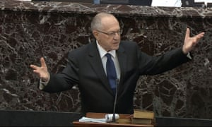 Alan Dershowitz, an attorney for President Donald Trump, speaks during the impeachment trial against Trump.