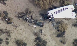 An image from video shows wreckage of SpaceShipTwo.