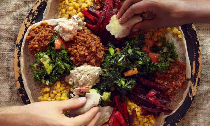 A typical Ethiopian sharing platter.