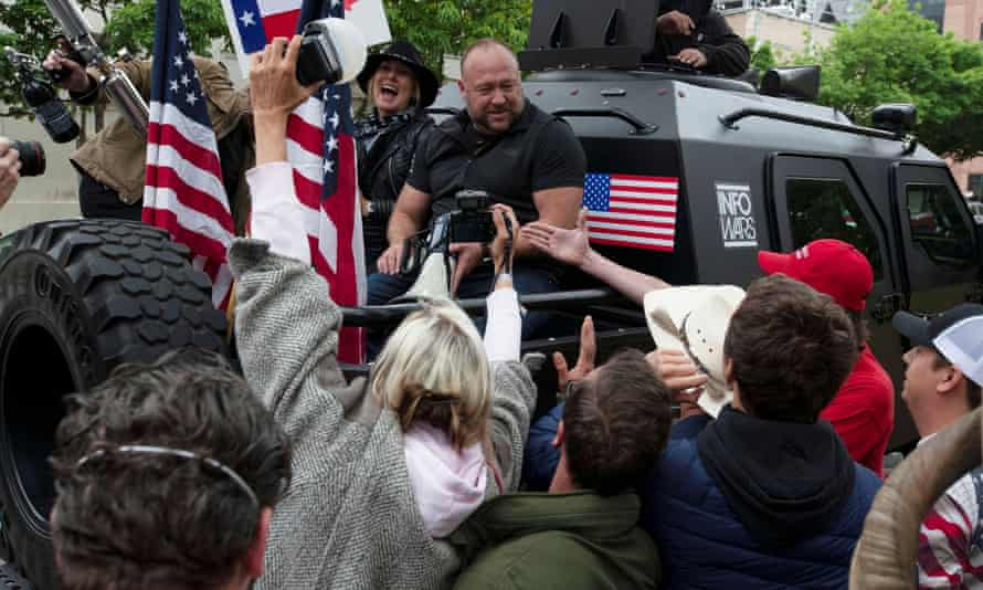 Alex Jones at a demonstration in Austin, Texas, against Covid restrictions in April 2020.