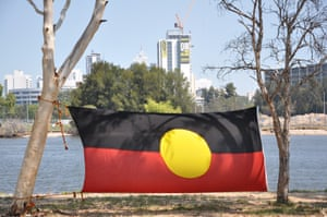 An Aboriginal flag on the Swan river