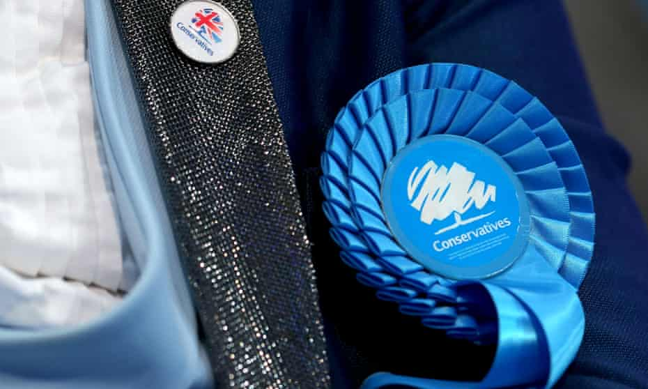A rosette is seen at the Conservative party conference