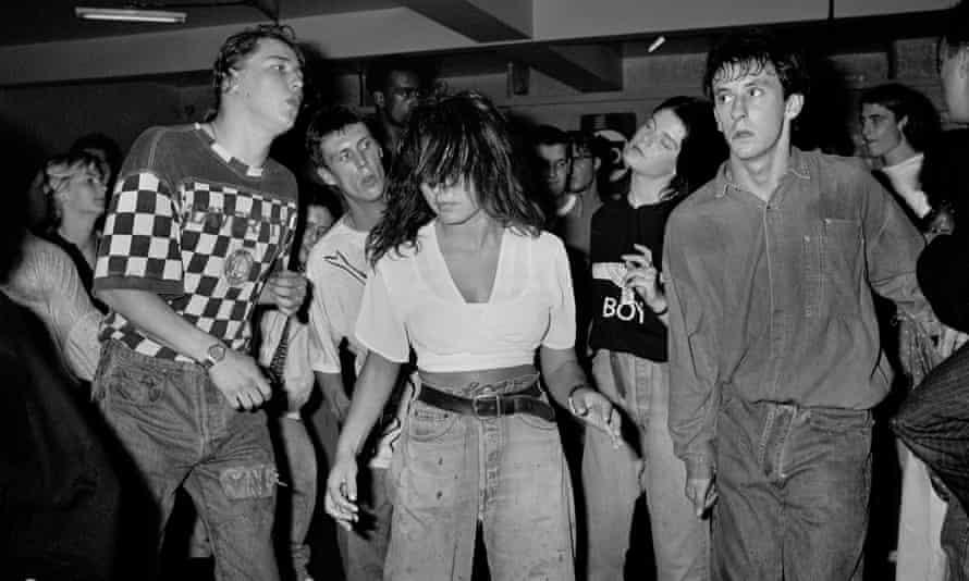 Bez (second left) dancing at the Haçienda, 1988.