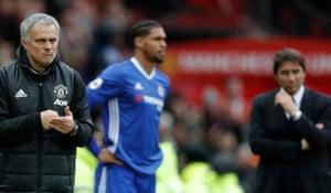 Jose Mourinho savours victory over the onlooking Chelsea manager Antonio Conte