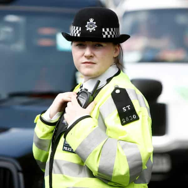 A female police officer on the street