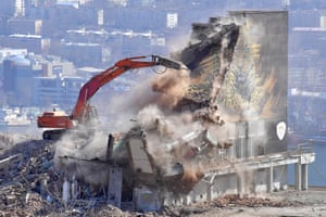 A youth centre building of the Far Eastern State Technical University being torn down to make way for the construction of a future museum and exhibition centre in Vladivostok, Russia