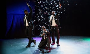 Jimi Bani and two brothers on stage in My Name is Jimi