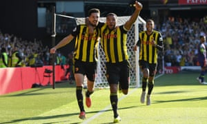Craig Cathcart celebrates goal for Watford.