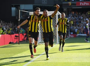 Craig Cathcart of Watford (L) celebrates after scoring his team's second goal with Troy Deeney.