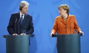 Paolo Gentiloni, the Italian PM, meets Angela Merkel. Merkel said EU states would show a united front.