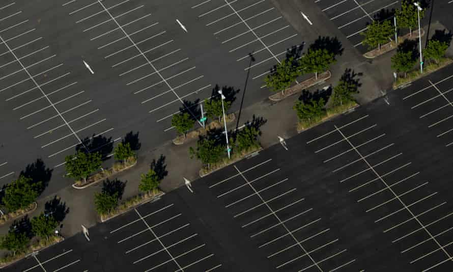 Aerial view of an empty car park in Sydney
