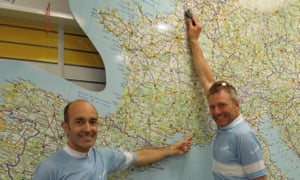 Let's go from here to here: Joan and Frank do some route planning in the Eurotunnel terminal