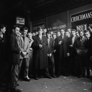 Teenagers outside the Trocadero cinema in  Elephant & Castle,  September 1956