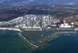 This aerial photo shows Fukushima Dai-ichi nuclear power plant in Okuma, Fukushima Prefecture
