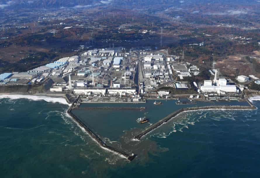This aerial photo shows Fukushima Dai-ichi nuclear power plant in Okuma, Fukushima Prefecture
