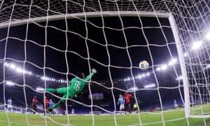 Lazio's Ciro Immobile (fourth left) scores their second goal.