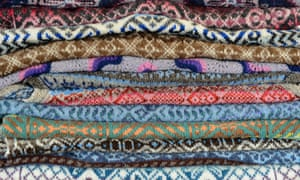 Fair Isle jumpers stacked
