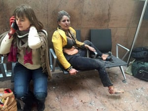 Two women wounded in the Brussels airport terminal after the explosions