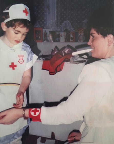 Aspirant nurse Jade Thorne, aged 4, caring for her mother Tracey.