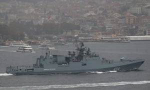 The Russian navy's frigate, the Admiral Grigorovich, on its way to the Mediterranean.