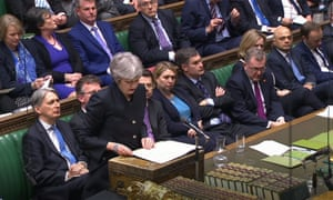 Theresa May speaks in the House of Commons, London after the European council in Brussels agreed to a second extension to the Brexit process.