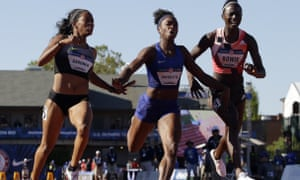 In this July 3, 2016, file photo, English Gardner, winner, from left, second place, Tianna Bartoletta, and third place, Tori Bowie finish the women's 100-meter final at the U.S. Olympic Track and Field Trials in Eugene, Ore. Five sprinters have joined the small list of women to crack the 10.8-second mark