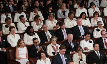 Members of congress wear white to honor the women's suffrage movement as Trump addresses a joint session of the Congress in 2017